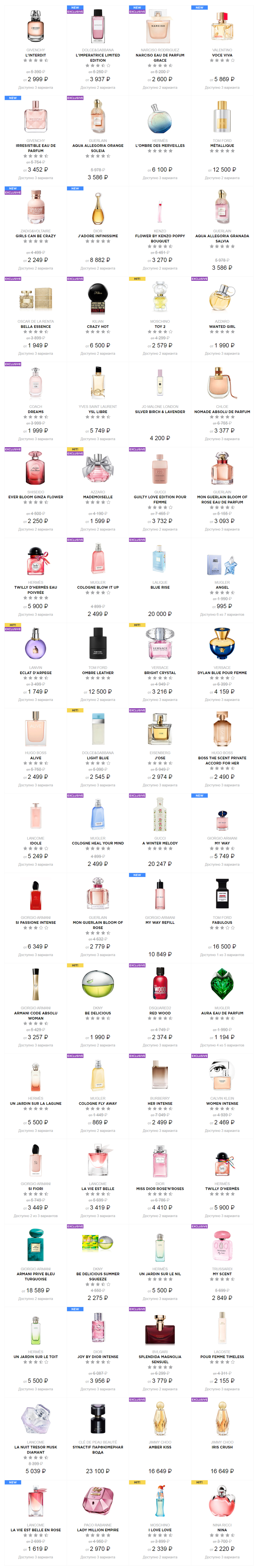 Каталог Летуаль - Женская парфюмерия